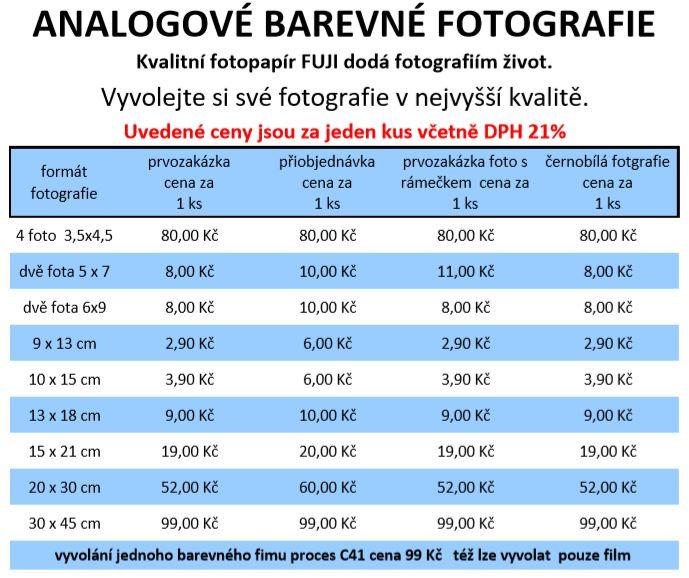 ceník analogové fotografie