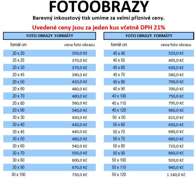 ceník fotoobrazy